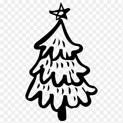 Sketches Christmas tree on transparent PNG