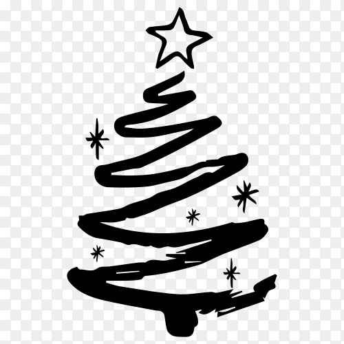 Sketches Christmas tree on transparent background PNG
