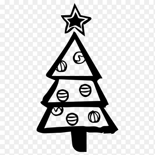 Sketches Christmas tree premium vector PNG