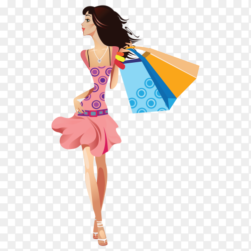 Smiling girl shopper illustration on transparent background PNG