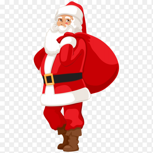 Smiling Santa Claus with bag gifts on transparent background PNG