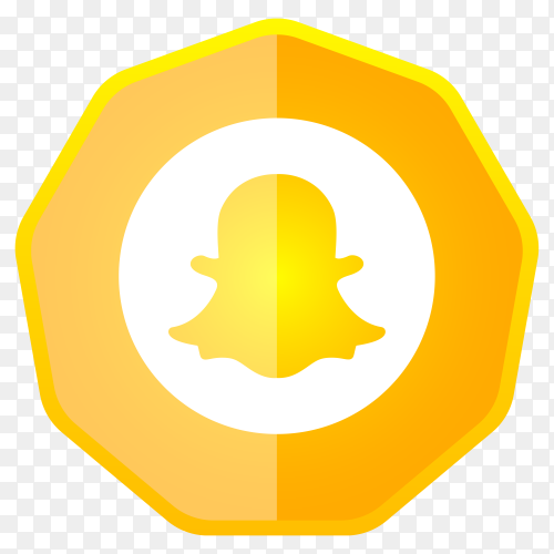 Snapchat icon button premium vector PNG