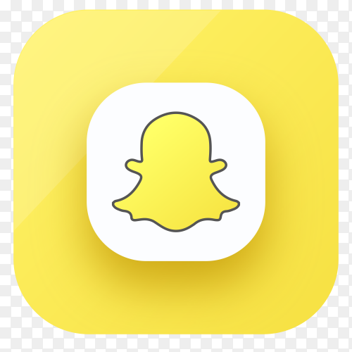 Snapchat icon design in gradient colors on transparent PNG