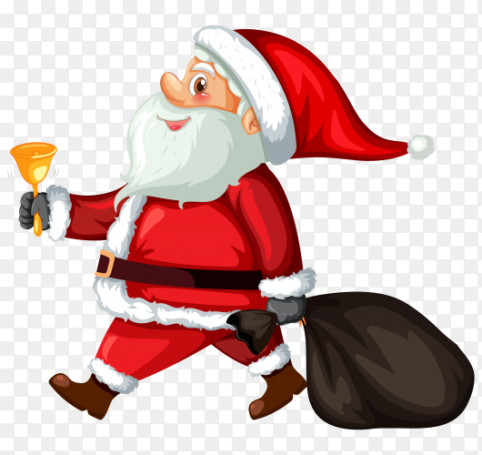 Santa Claus with bag on transparent background PNG