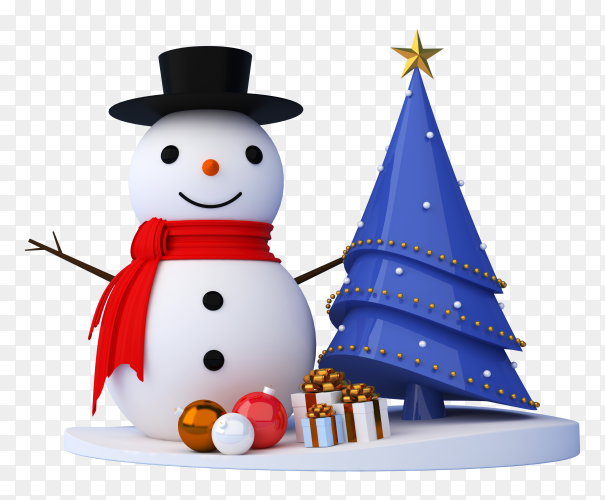 Snowman, Christmas tree and gift box in 3d renderin on transparent background PNG