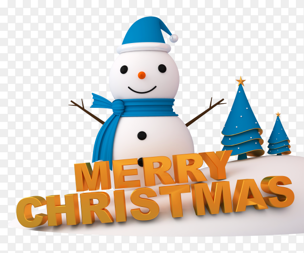 Snowman, Christmas tree and gift box in 3d rendering on transparent background PNG