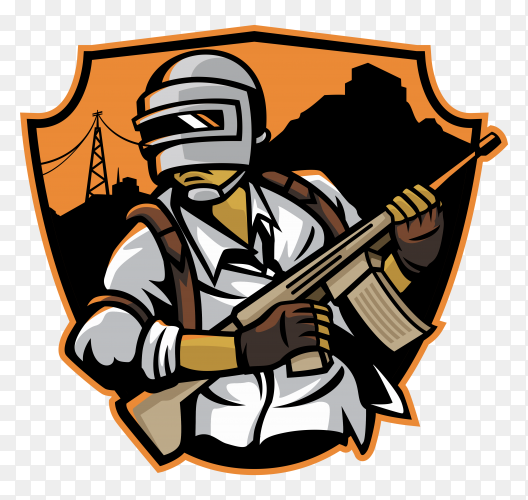 Soldier running battle field in PUBG game premium vector PNG