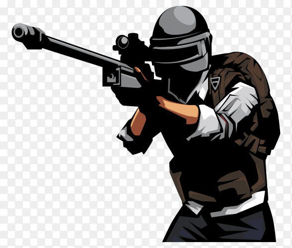 Soldier with sniper gun in PUBG game on transparent background PNG