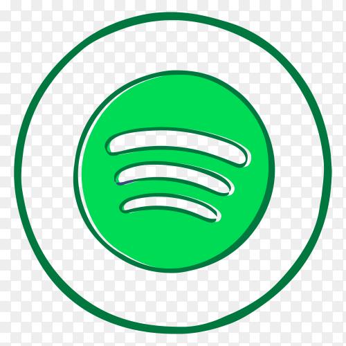 Spotify Logo in flat design on transparent background PNG