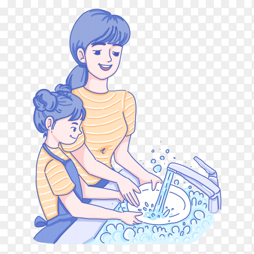 Stay home and wash your hands illustration on transparent background PNG