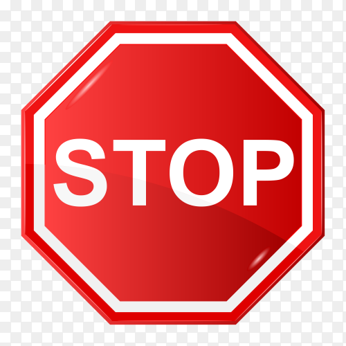 Stop red glossy road sign isolated on transparent background PNG