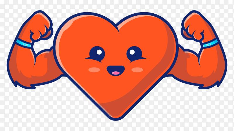 Strong heart illustration on transparent background PNG
