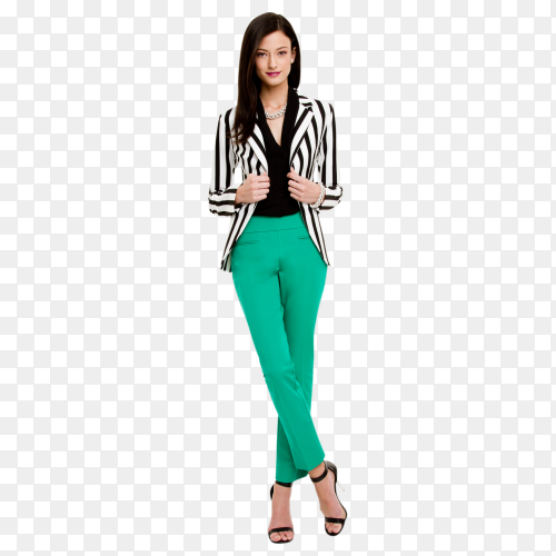 Stylish attractive young woman in casual green costume and white black jacket on transparent background PNG
