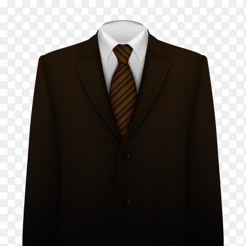 Stylish business Black suit with tie and white shirt on transparent background PNG