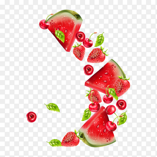 Summer berries fruits with watermelon on transparent background PNG