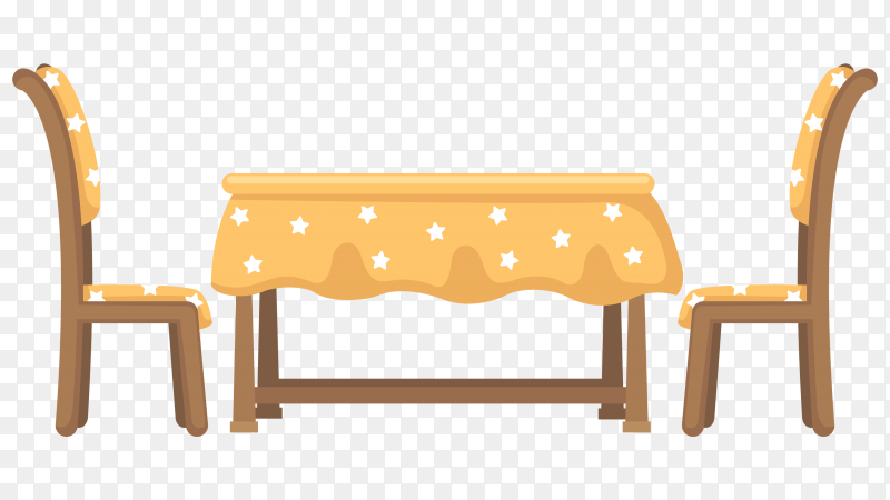 Table and chairs illustration on transparent background PNG