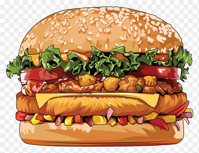 Tasty Hamburger with meat and cheese on transparent background PNG