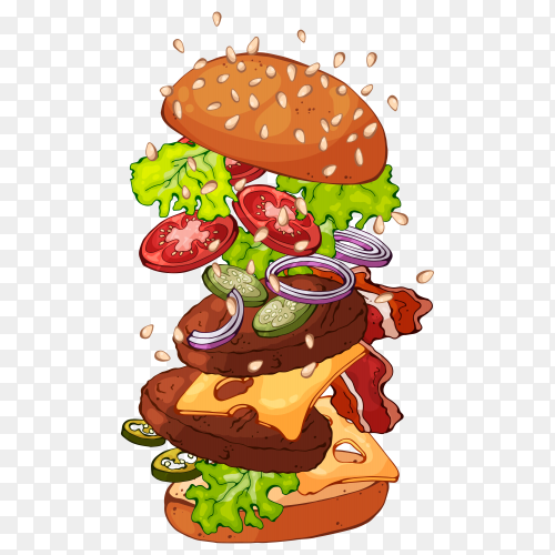 Tasty burger with variety of ingredients on transparent background PNG