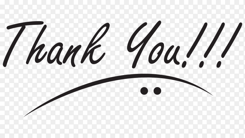 Thank you background with black lettering on transparent background PNG