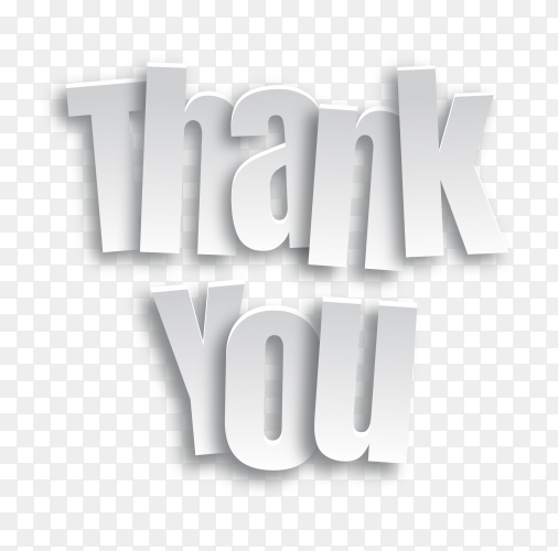 Thank you background with white lettering on transparent background PNG