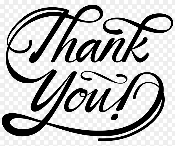 Thank you card isolated on transparent background PNG