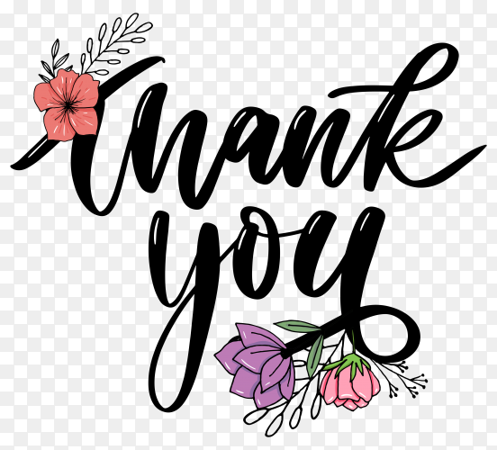 Thank you card on transparent background PNG