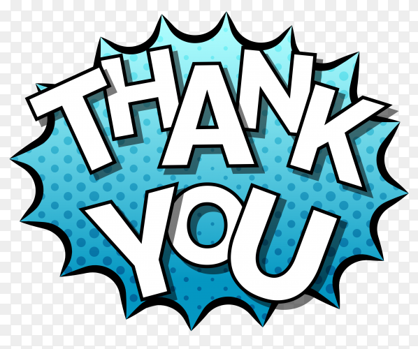 Thank you composition in comic style on transparent PNG