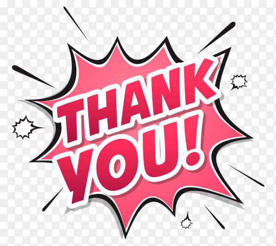 Thank you composition in comic style on transparent background PNG