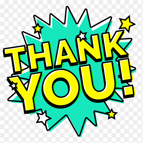 Thank you composition in comic style premium vector PNG