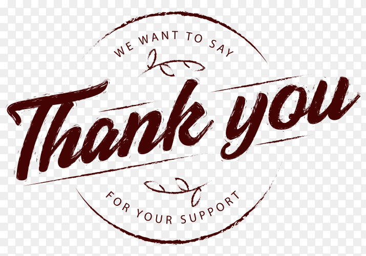 Thank you composition with vintage style on transparent background PNG