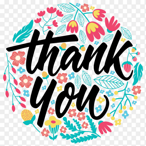 Thank you greeting card lettering on transparent background PNG