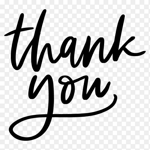 Thank you lettering on transparent background PNG