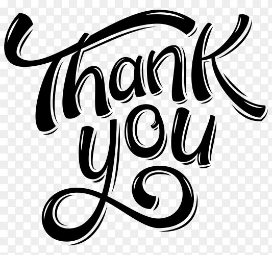 Thank you lettering with black color on transparent background PNG