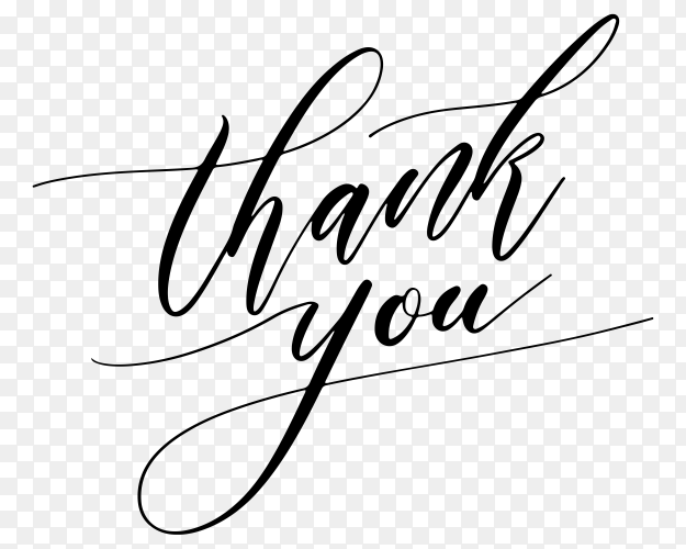Thank you sticker hand written on transparent background PNG