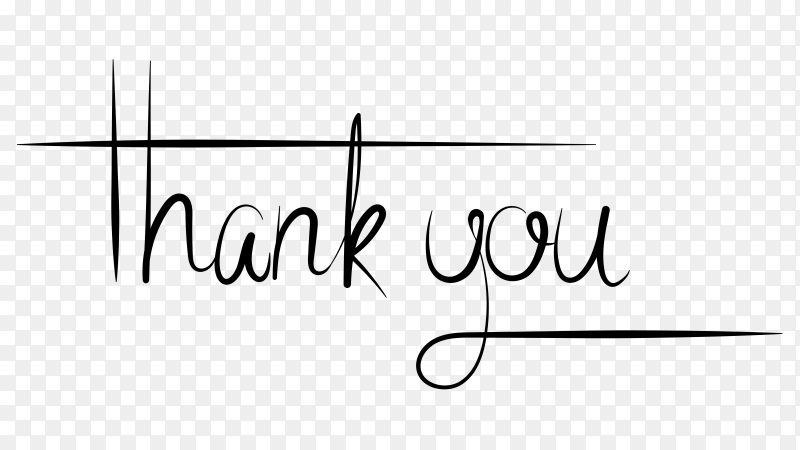 Thank you typography design on transparent PNG
