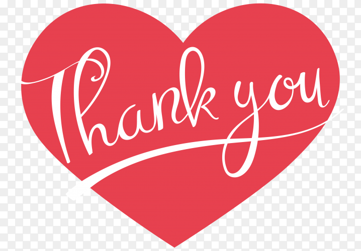 Thank you typography design on transparent background PNG