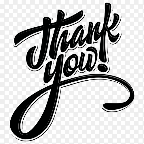 Thank you with black lettering premium vector PNG