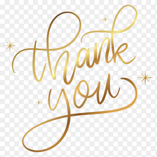 Thank you with golden lettering on transparent background PNG