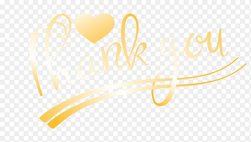 Thank you with golden lettering premium vector PNG