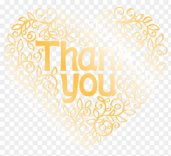Thank you with golden lettering style  premium vector PNG