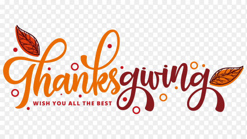 Thanks giving day label in hand drawn style on transparent PNG