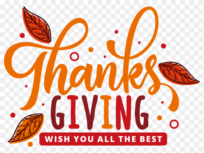 Thanks giving day label in hand drawn style on transparent background PNG