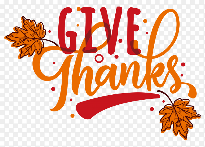 Thanks giving day label in hand drawn style clipart PNG