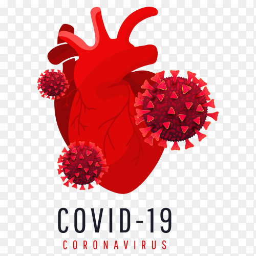 The effect of coronavirus on the human heart. 3d Covid19 cells infect a human heart isolated Clipart PNG