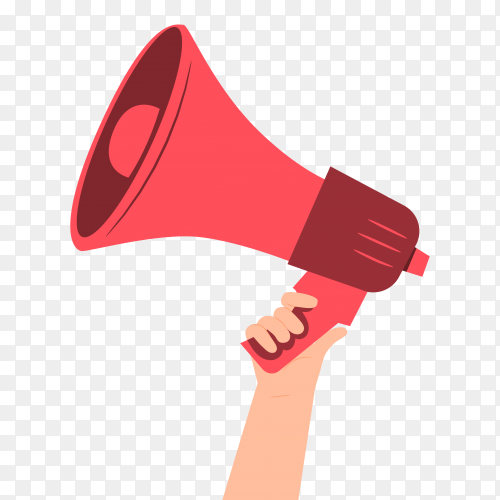 The hand holding a megaphone on transparent background PNG