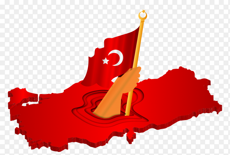 Turkish flag on the map on transparent PNG