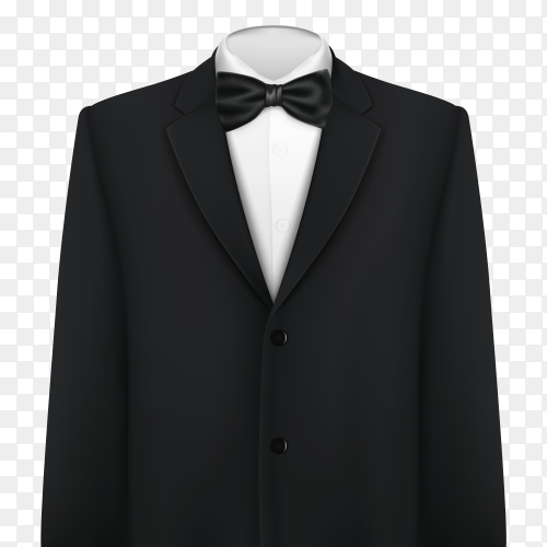 Tuxedo with a bow tie on transparent background PNG