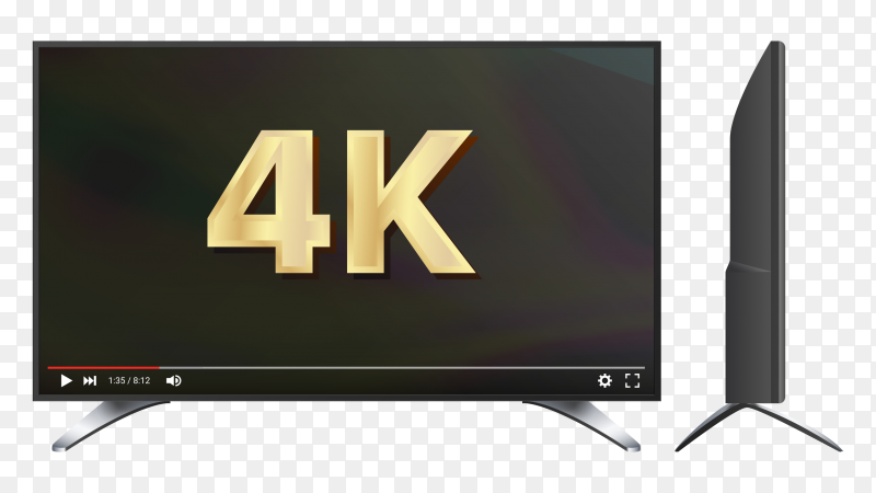 TV flat icon with golden 4k sign on the screen on transparent PNG
