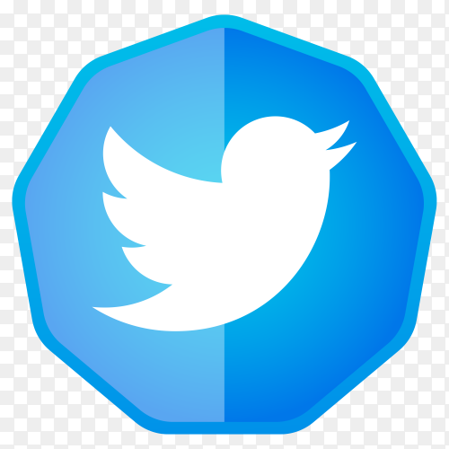 Twitter icon button on transparent background PNG