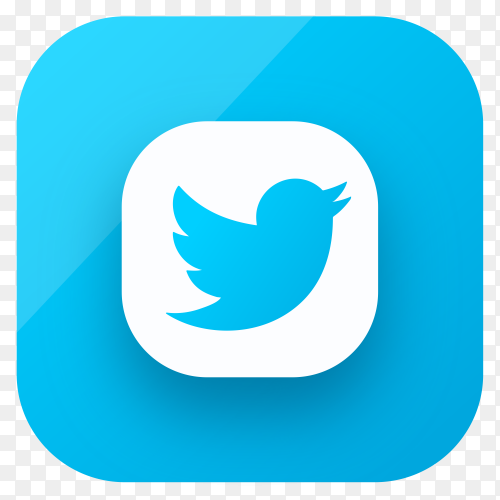 Twitter icon design in gradient colors on transparent background PNG